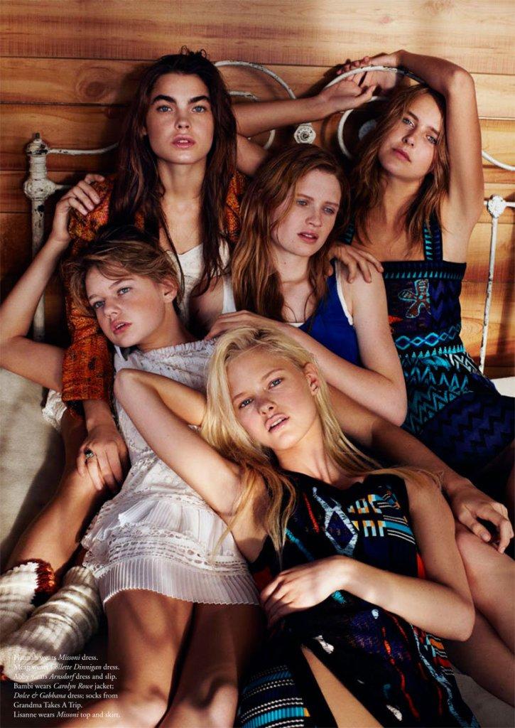 Bambi Northwood-Blyth, Lisanne de Jong, Hannah Holman, Abbey & Meag by Benny Horne for Russh #38, Just Like Sisters 07