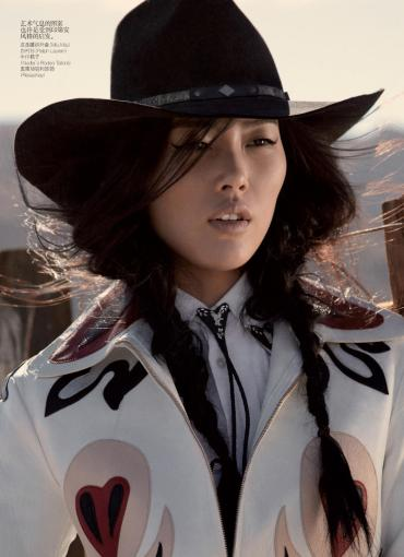 Liu Wen for Vogue China May 2011; Wild West
