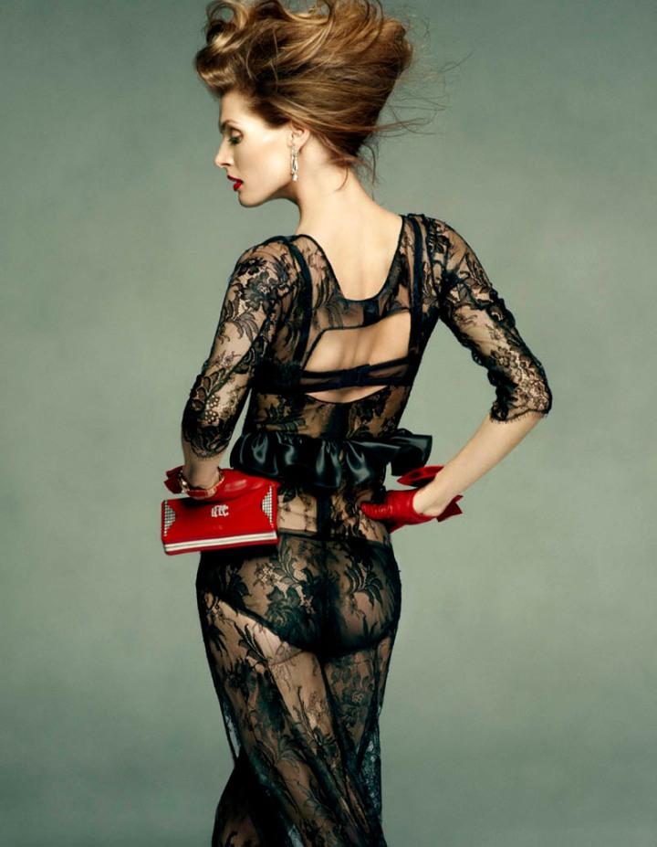 2bcf1ae3ec69 Malgosia Bela by Greg Kadel for Vogue Spain July 2011   Dolce & Gabbana  dress.